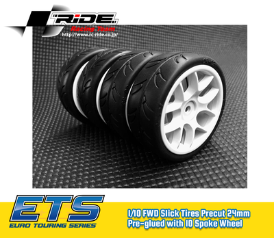 Ride 1/10 Slick Tires Precut 24mm Pre-glued with 10 Spoke Wheel White, 4pcs - 26072