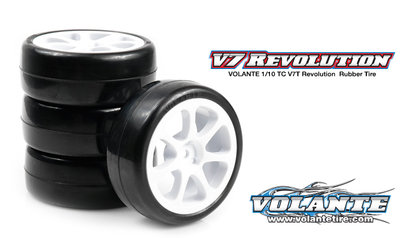 Volante V7T 1/10 TC Revolution 36R Rubber Tire Pre-glued 4pcs [Seven Spoke Wheel] - VT-V7T-PG36RSP