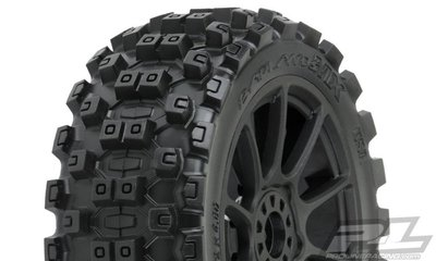 Proline Badlands Mx M2 (medium) All Terrain 1:8 Buggy Tires Mounted On Mach 10 Black Wheels (2) For Front Or Rear - 9067-21