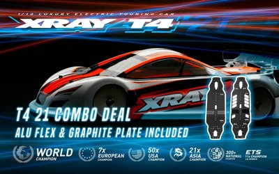 Xray T4'21 - Graphite Edition - 1/10 Luxury Electric Tc + 301006 Alu Flex Chassis - 300028-COMBO
