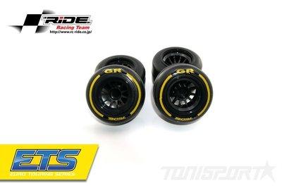 26040 Ride F1 Front Rubber Slick Tires GR Compound 61mm Preglued Asphalt