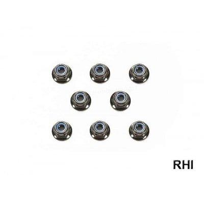 54642, RC 4mm Flange Lock Nut - Black / 8pcs