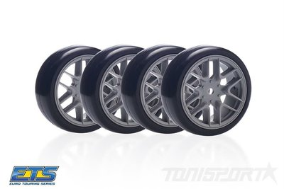Matrix 1/10 EP 36R Rubber Tire Pre-Glued Asphalt (4), Grey Spoke Rim