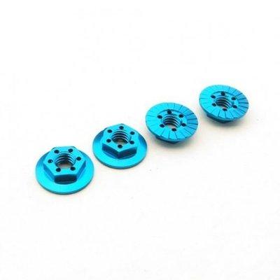 Hiro Seiko Thin Serrated Wheel Nut 4mm (T-Blue | 4pcs)