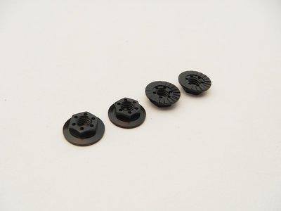 Hiro Seiko 4mm Alloy Serrated Wheel Nut -11mm Thin Type (Black, 4pcs)