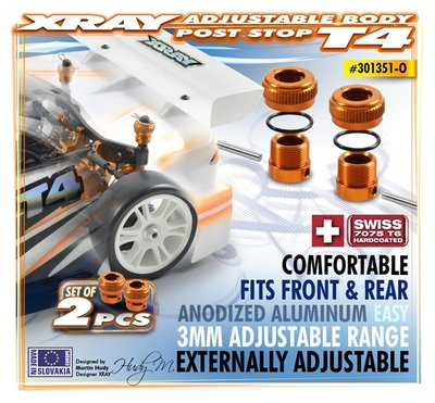 XRAY Alu Adjustable Body Post Stop (2) - 301351-O