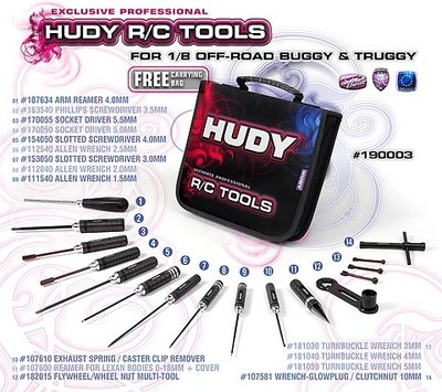 HUDY Set of Tools + Carrying Bag - for 1/8 Off-Road - 190003