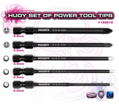 HUDY Set Of Power Tool Tips 2.0, 2.5, 3.00mm + 4.0, 5.8 Phillips - 190070