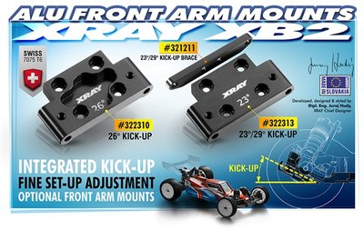XRAY ALU FRONT LOWER ARM MOUNT 23°//29° KICK-UP - SWISS 7075 T6 - 322313
