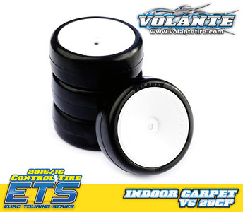 Volante V5 1/10 TC 28CP Indoor Carpet Rubber Tire Preglued - VT-V5-PG28CP