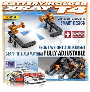 T4 Graphite + Alu Fully Adjustable Battery Holder - 306191