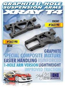 XRAY FRONT SUSPENSION ARM - GRAPHITE - 1-HOLE - 302169
