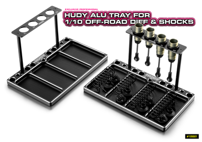 HUDY ALU TRAY FOR 1/10 OFF-ROAD DIFF & SHOCKS - 109801