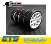 Ride 1/10 Slick Tires Precut 24mm Pre-glued with 10 Spoke Wheel White, 4pcs - 26072